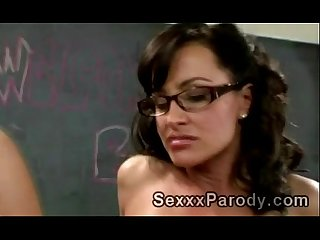 Sexy teacher with glasses sucks off and gets pumped in Xxx parody