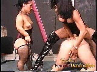 Two kinky brunette sluts enjoy fucking a horny well-hung stud