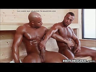 Big Sexy Beefcake Ebony Guys Fucking in the Steamroom