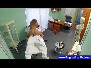 Doctor hardcore drills petite patient