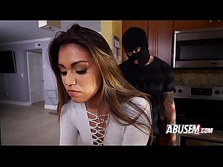 Burglar breaks in and fucks hot brunette in her kitchen