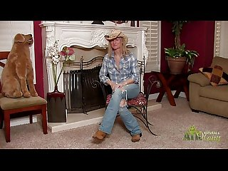 Hot cowgirl milf strips during interview
