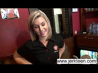 Blonde blue eyes teen blowjob and fuck in public bar www jerkteen com