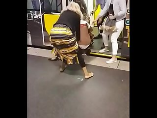 Big booty African milfs fighting in the subway station