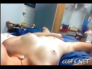 Teen with tanlines rides on penis