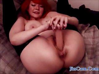 Busty redhead big butt toy show