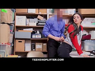 Hot brunette latina teen sophia leone caught shoplifting candy has sex with officer for no cops and