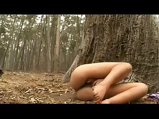 Australian jilly rubs her hairy muff outdoors