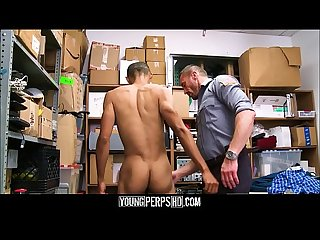 Straight black twink caught having sex with female in changing rooms fucked by gay security guard fo