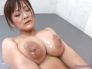 Busty asian girl jerking off guy cock getting her pussy fucked in the bathroom