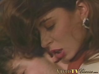 Vintage MILFs with big natural tits rides a massive dick