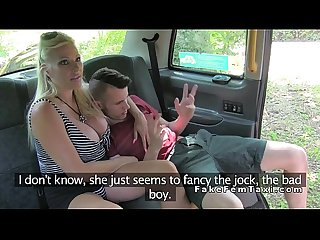 Young guy bangs huge tits female fake taxi driver