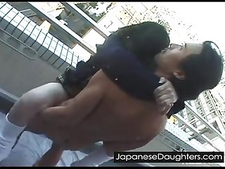 Japanese daughter takes huge cock up her ass