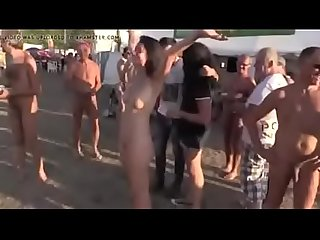 Beautiful girl nude on a festival