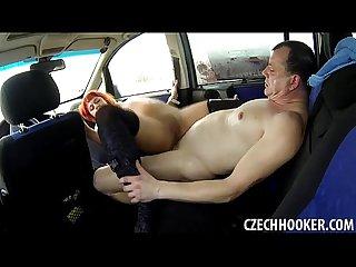 Hot redhead gets an anal creampie in car