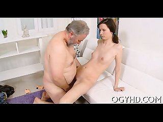 Petite youthful vixen rides old ding dong