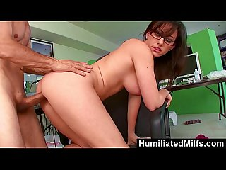Humiliatedmilfs jennifer white bent over the office chair boned