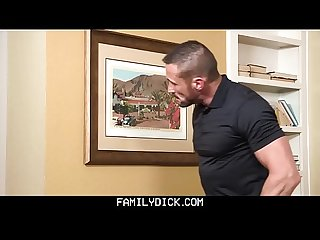 FamilyDick - Hot muscle daddy fucks stepson�s mouth for playing with the heat