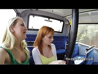 Two amateur babes fucking stranger in a bus