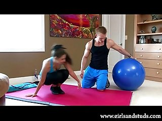 Two sexy teen amateurs fuck hard after a workout