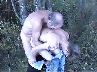 Young teen boy fucked in the woods by an old bearded man