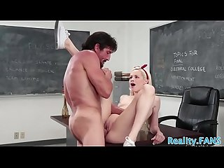 Beautiful schoolgirl tastes teachers cum