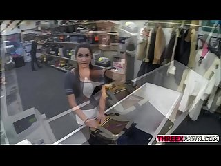 Pretty hot college chick gets fucked hard by a perverted store owner