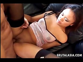 Asian babe Annie Cruz takes it in her ass and pussy