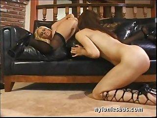 Nylon hot lesbians in kinky toys fetish