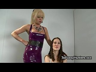Tranny licks and fucks brunette hottie