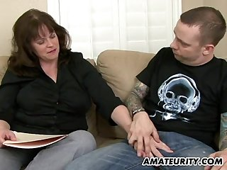 busty amateur milf sucks and fucks a young dick