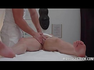 Chunky amateur brunette with big boobs fucks in massage