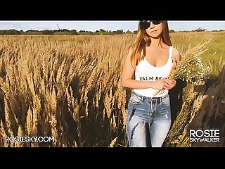 Outdoor Sloppy Blowjob on Sunset in Wheat Field He Cums on her Tits - Rosie Skye