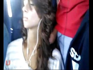 Rubbing dick on hot girl on bus