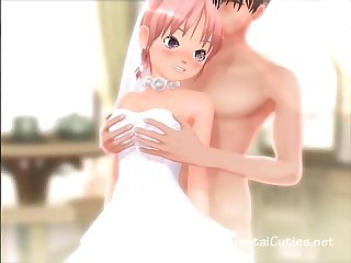Innocent Anime bride fingered to orgasm
