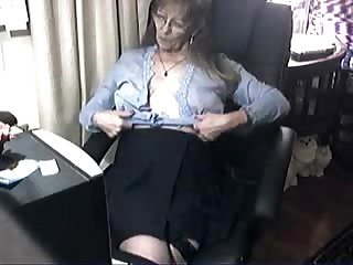 Pervert cute granny having fun at computer amateur