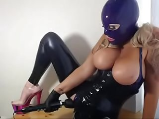 latex kitty drools licks cums on her DOXY