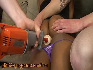 Black Ho Fucked By A Mechanical Dildo