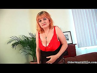 Hairy grandma with big tits has solo sex with a dildo