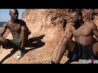 Black dudes goes big dick sucking and anal plowing