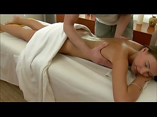 Brunette massage babe fucks and sucks after masturbating