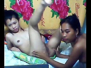 Asian lesbians playing with each other