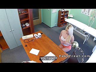 Doctor eats and bangs busty blonde on a desk