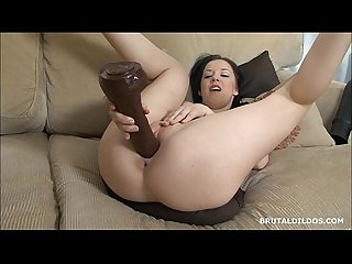 Babe with thick ass riya rotating between brutal dildos