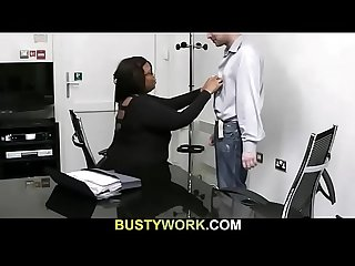 Black plumper seduces white man at work