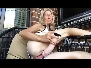 Sexy Hot Milf rectj from hotpornocams.com masturbate on balcony
