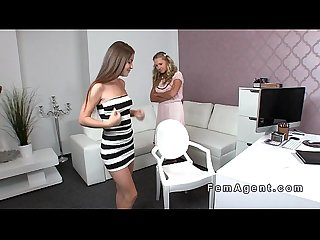 Busty model and female agent licking