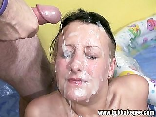 Chubby jade pissed on by several dicks 7