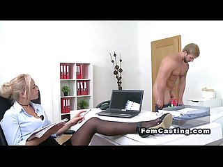 Big muscled guy bangs female agent in casting