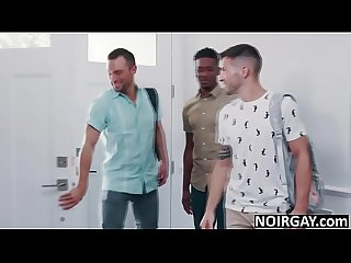 Hot gay couple & big black cock property owner threesome